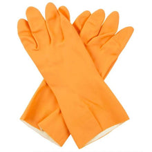 Load image into Gallery viewer, 664 - Flock line Reusable Rubber Hand Gloves (Orange) - 1pc