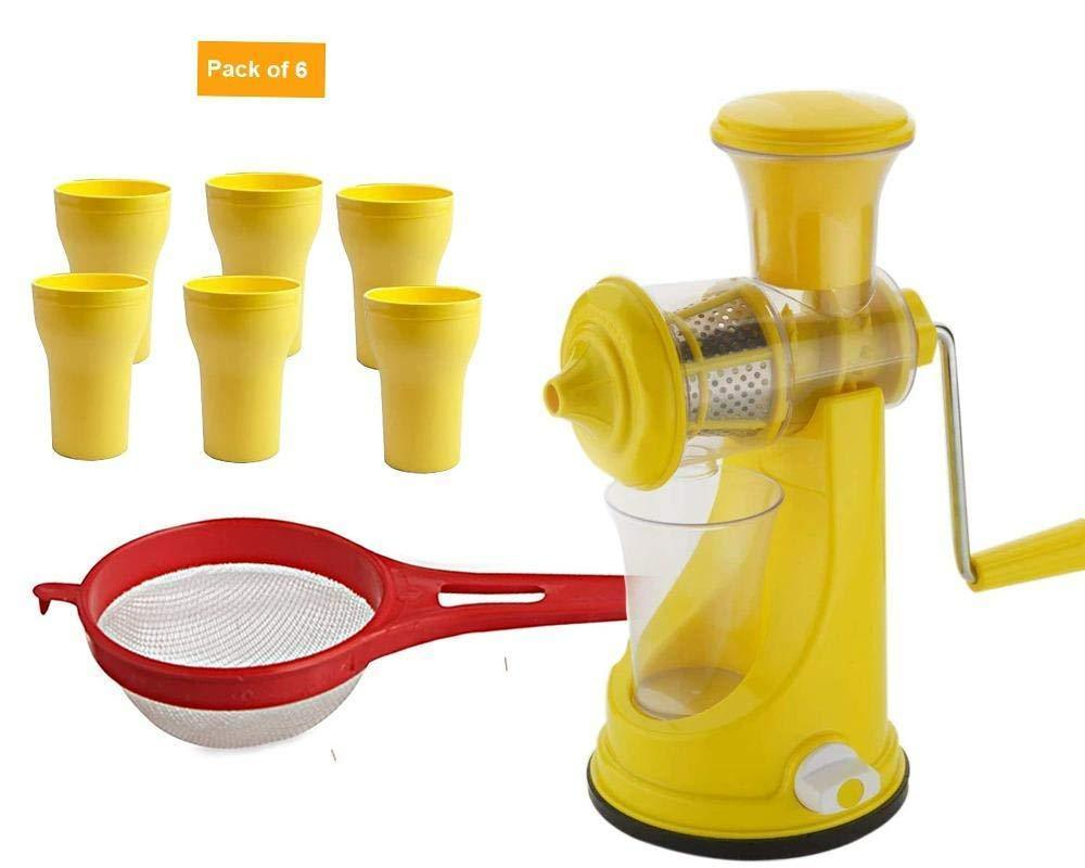 Your Brand Kitchen combo -Manual Fruit Juicer with Plastic Small Tea Strainer Sieve &  6pcs Plastic Juice Drinking Glasses