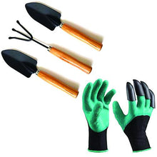 Load image into Gallery viewer, Shopsuper Gardening Hand Cultivator, Big Digging Trowel, Shovel & Garden Gloves with Claws for Digging & Planting