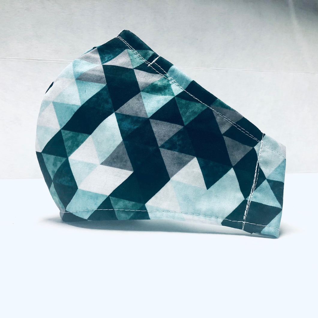 Cloth Face Mask - Cyan Triangles