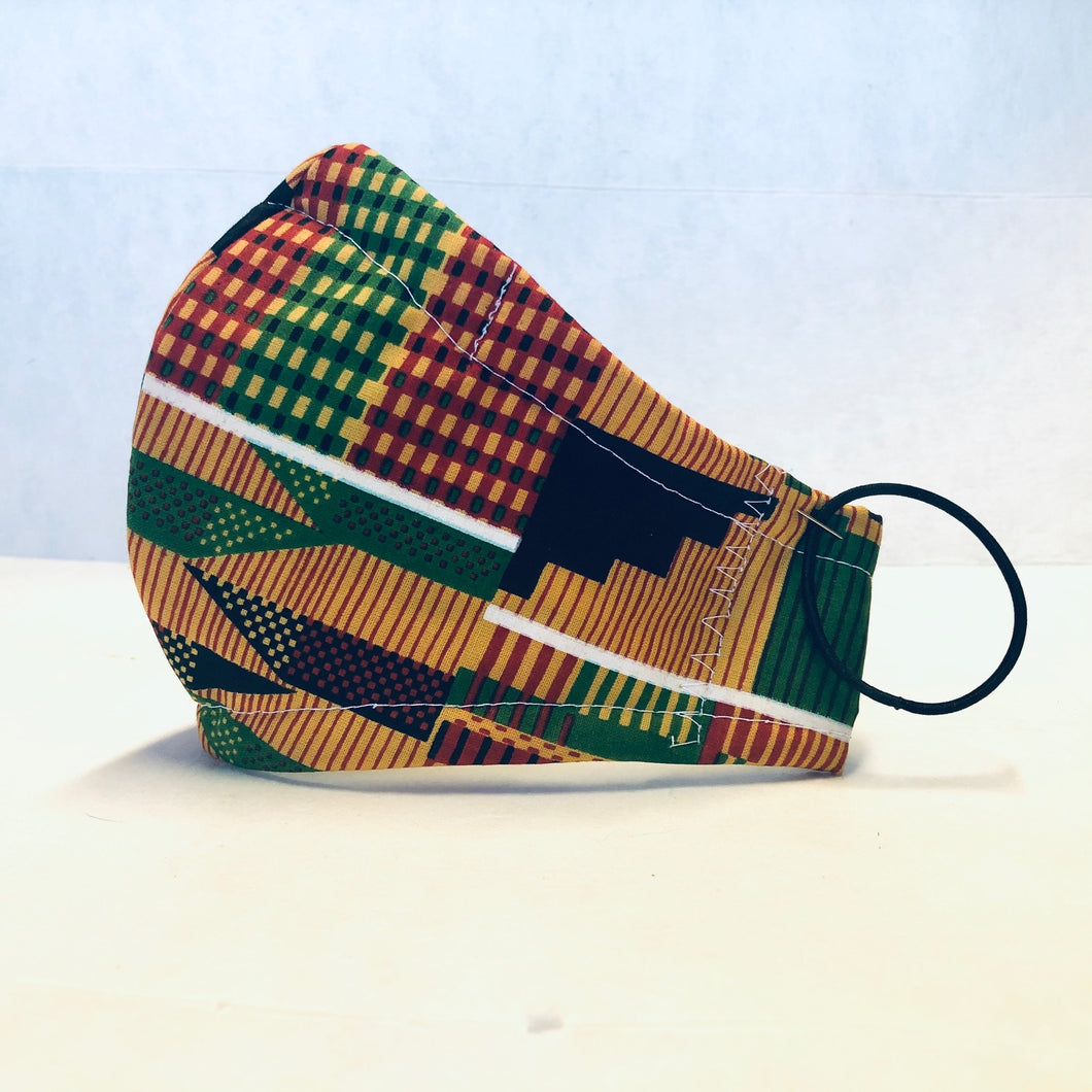 Cloth Face Mask - African Red Green Black - Adult XL