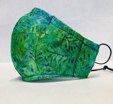 Load image into Gallery viewer, Cloth Face Mask - Green  Batik - Adult Regular