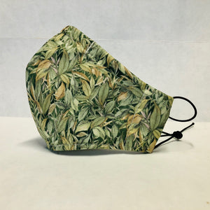 Filter Face Mask - Green leaves - Adult Large