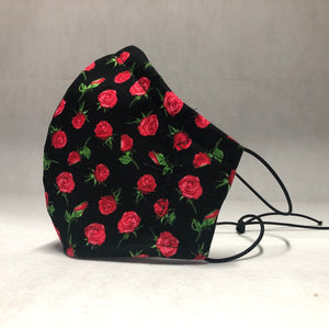 Filter Face Mask - Roses on Black - Adult Regular