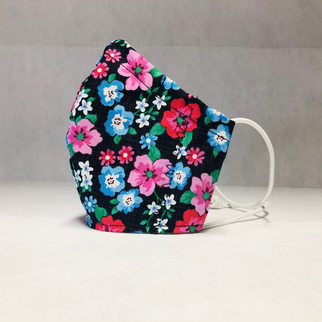 Cloth Face Mask - Flowers on Black - Kids Regular or Adult Small