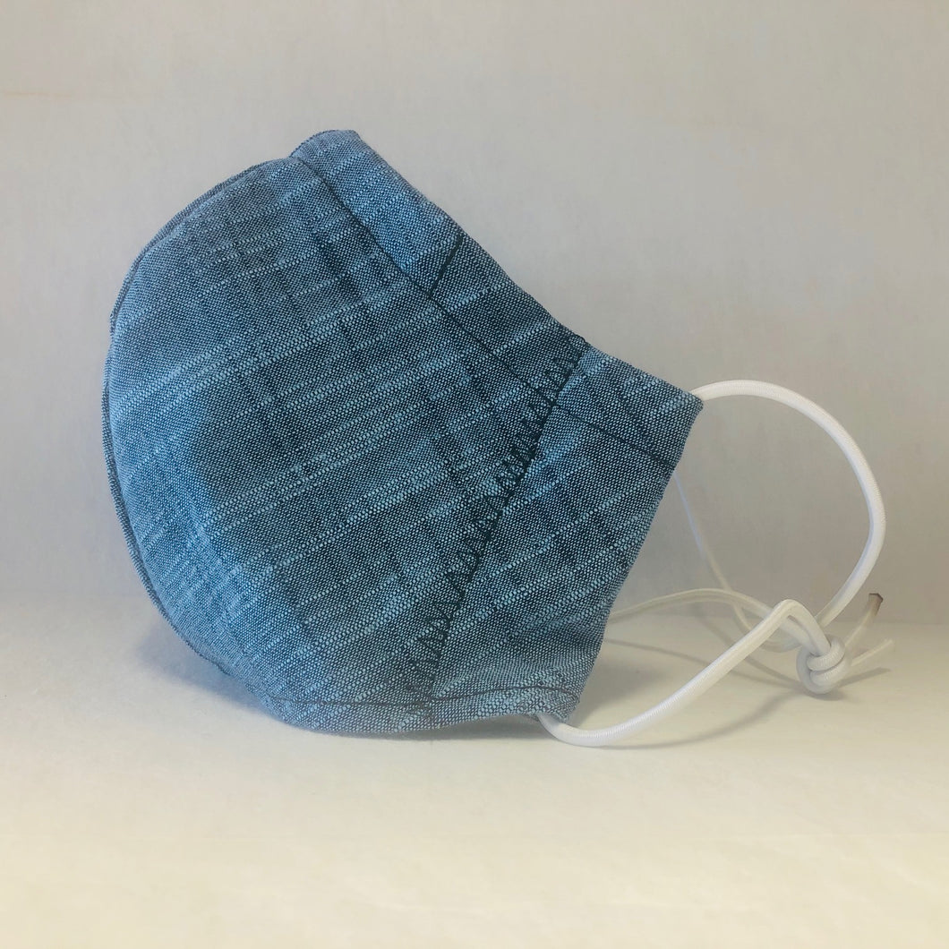 Cloth Face Mask - Blue Linen - Adult Regular