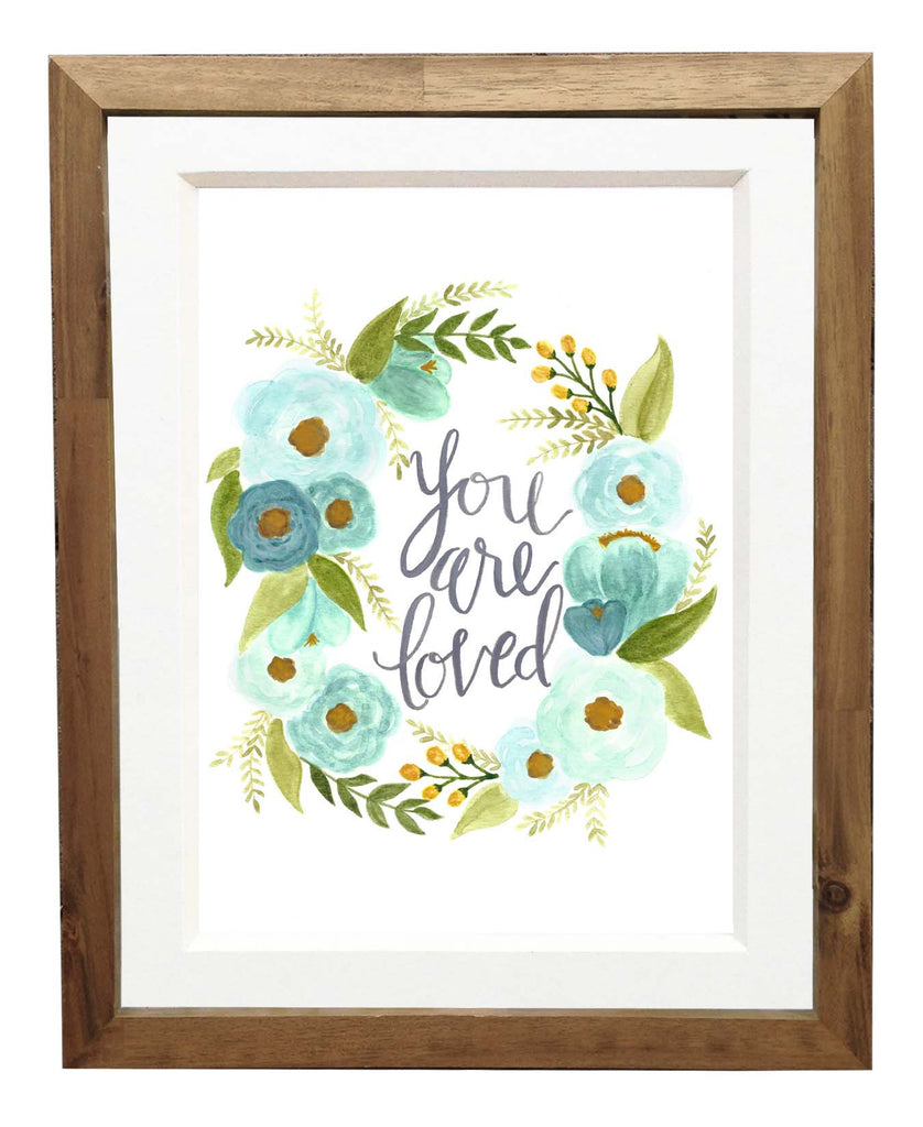 teal blue floral, you are loved