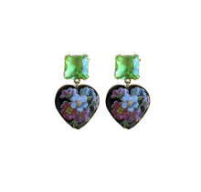 Load image into Gallery viewer, Floral Heart Drop Earrings - Black