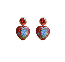 Load image into Gallery viewer, Floral Heart Drop Earrings - Red