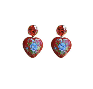 Floral Heart Drop Earrings - Red