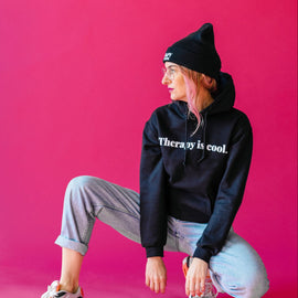 Therapy Is Cool HOODIE | Black