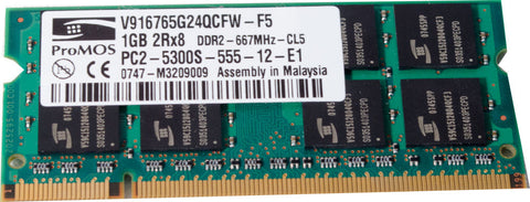 ProMOS V916765G24QCFW-F5 1GB PC2-5300S-555-12-E1 DDR2 667MHz 200-Pin CL-5 SDRAM SoDIMM Laptop Memory - Non-ECC - worldtradesolution.com