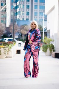 S. Denton Collection Pink/Blue Reversible Sequin Suit