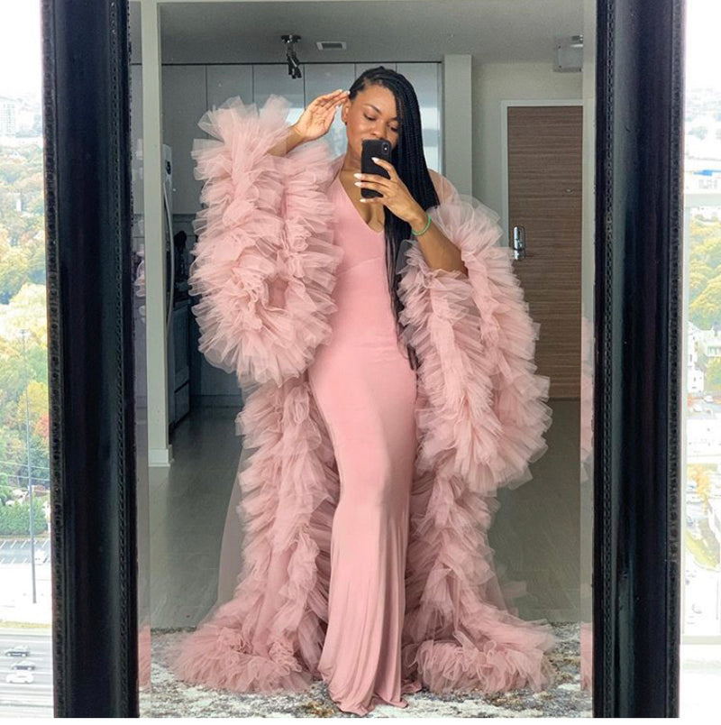 Oyemwen Blush Rose Pink Tulle Robe with Train (as worn by Kashdoll)