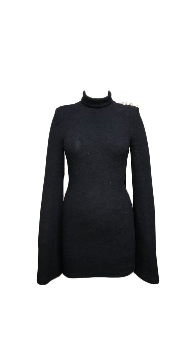 Kynamah Black Turtleneck Tamara Mini Dress