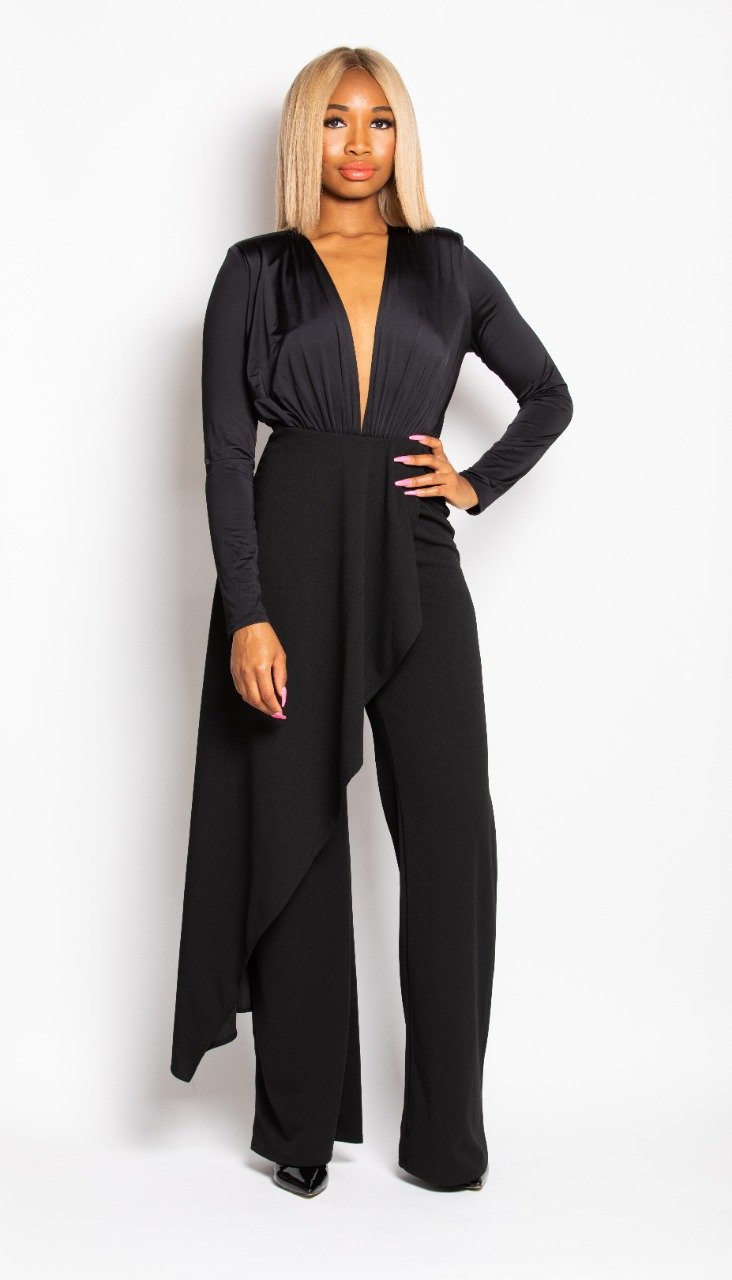 Madam Mystique Esmee Black Side Drape Dress Pants