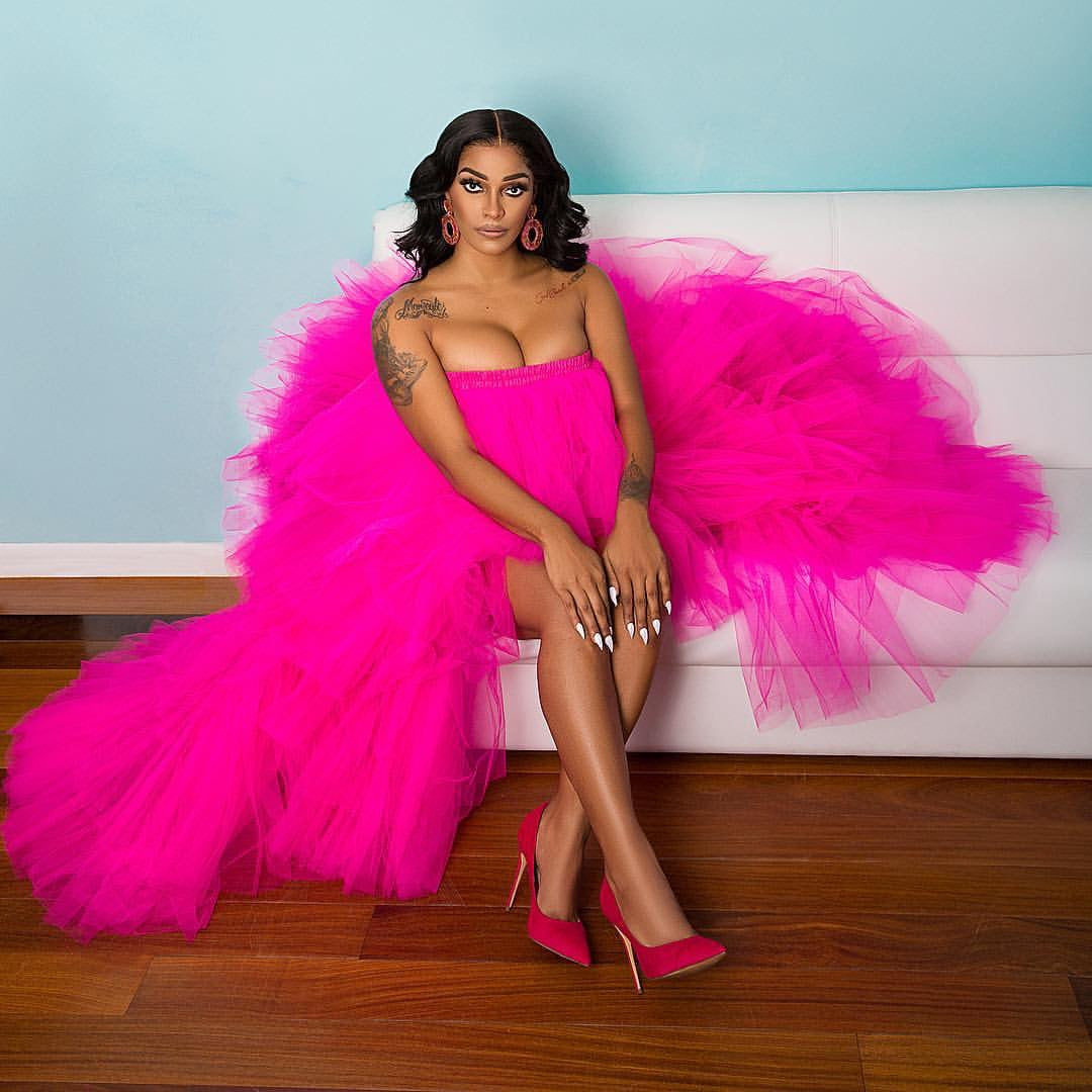 Oyemwen Tiered High Low Tulle Maxi Tutu Dress Hot Pink as Worn by Joseline