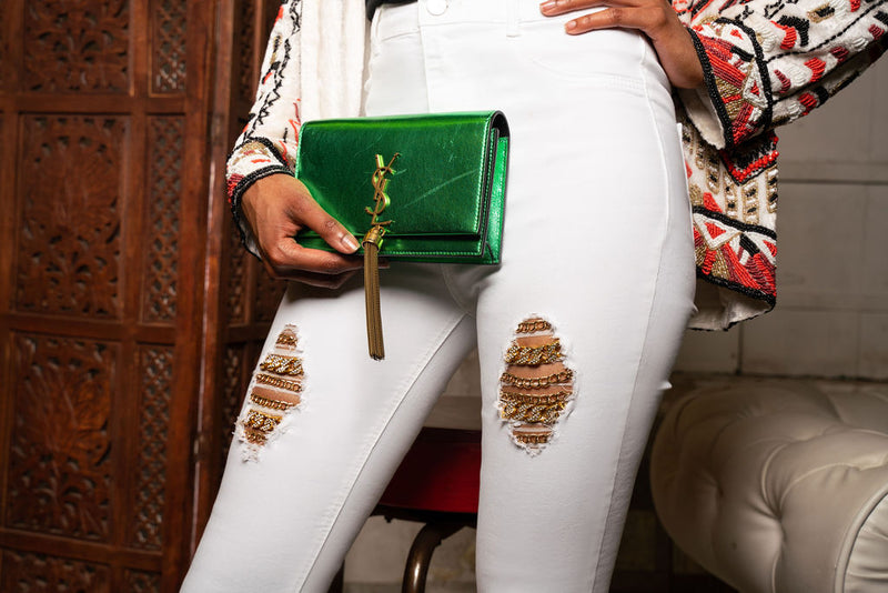 Billionaire Jeans with Crystal Chains (White)