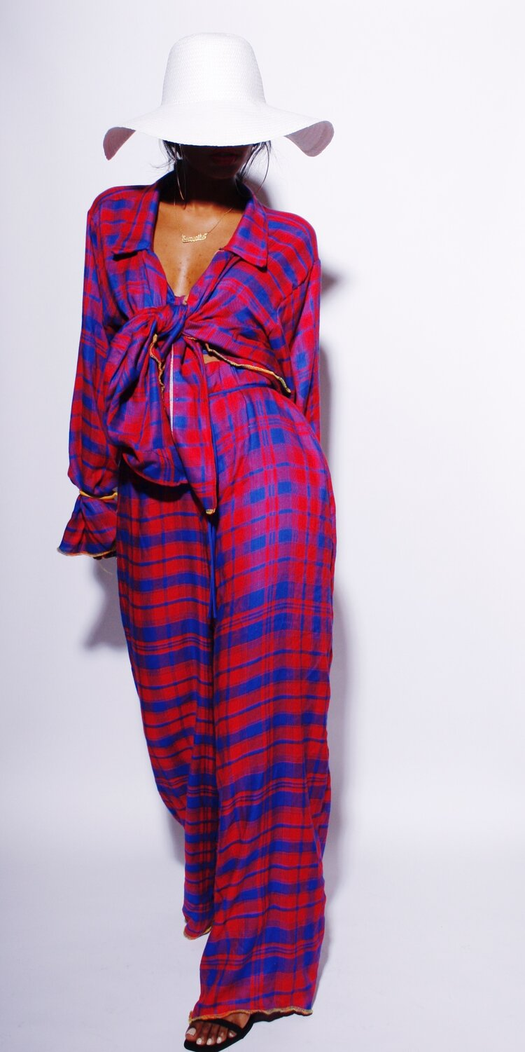 Sammy B Red and Blue Plaid Dexter Tie Front Shirt (As Worn by Gabrielle Union, Demi Lovato, and More!)