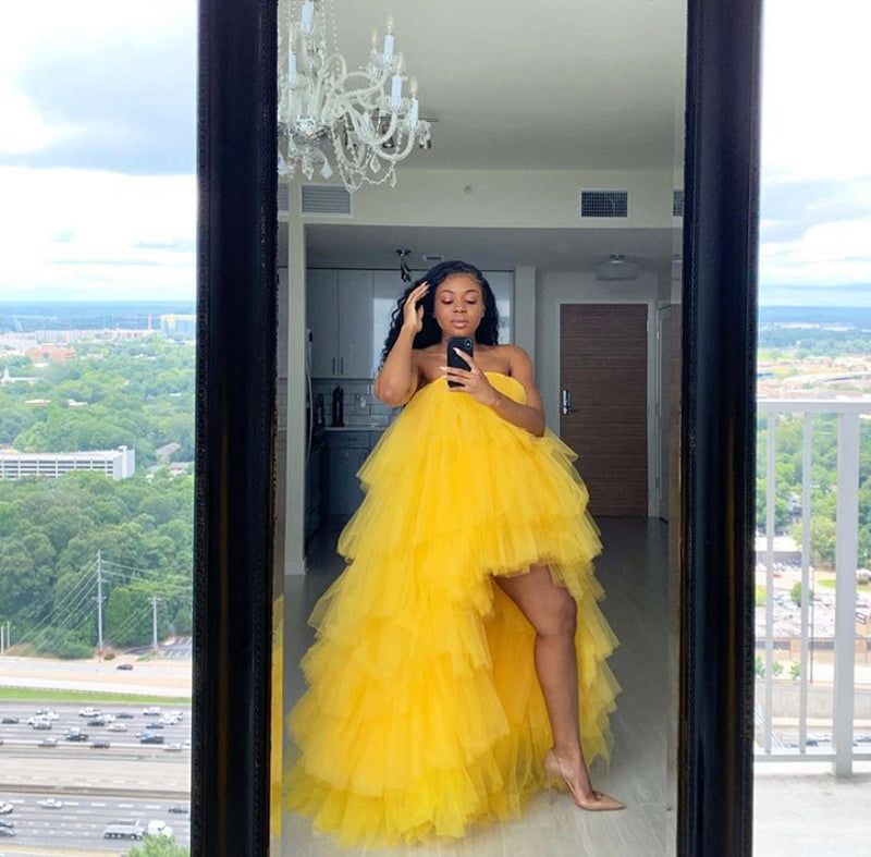 Oyemwen Veronica Tiered High Low Tulle Maxi Tutu Dress Yellow as Worn by Wendy Williams