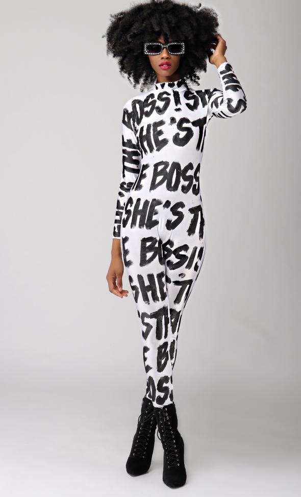 "These Pink Lips Black and White ""She's the Boss""  Catsuit"