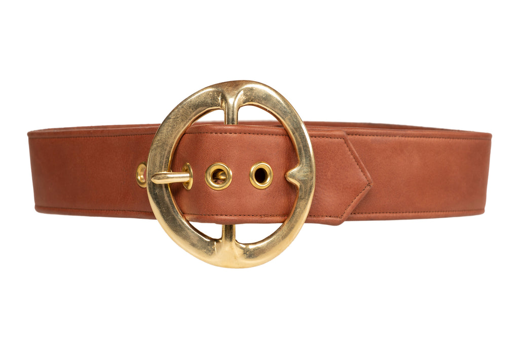 Sergio Hudson Signature Brown Leather Belt