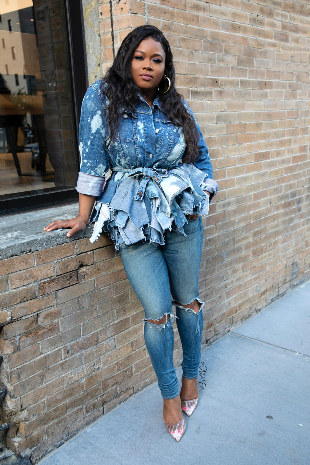 Denim Peplum Jacket Revamped