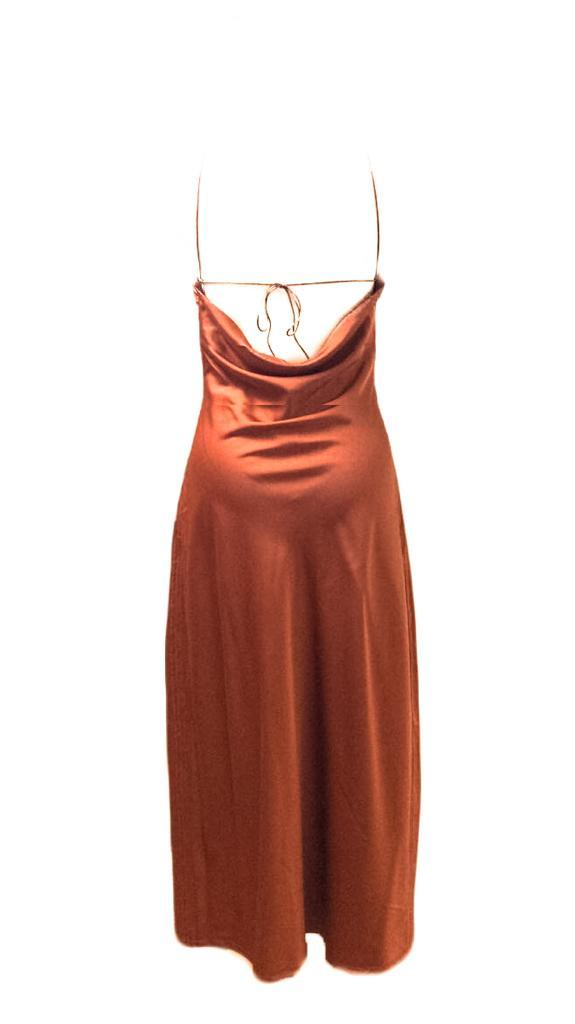 Kynamah Rust Halter Neck Drawstring Kiba Dress