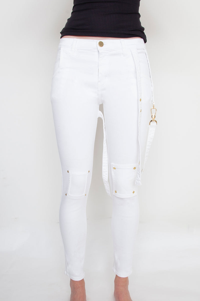 Arianne Elmy White Stretch Denim Strappy Jeans