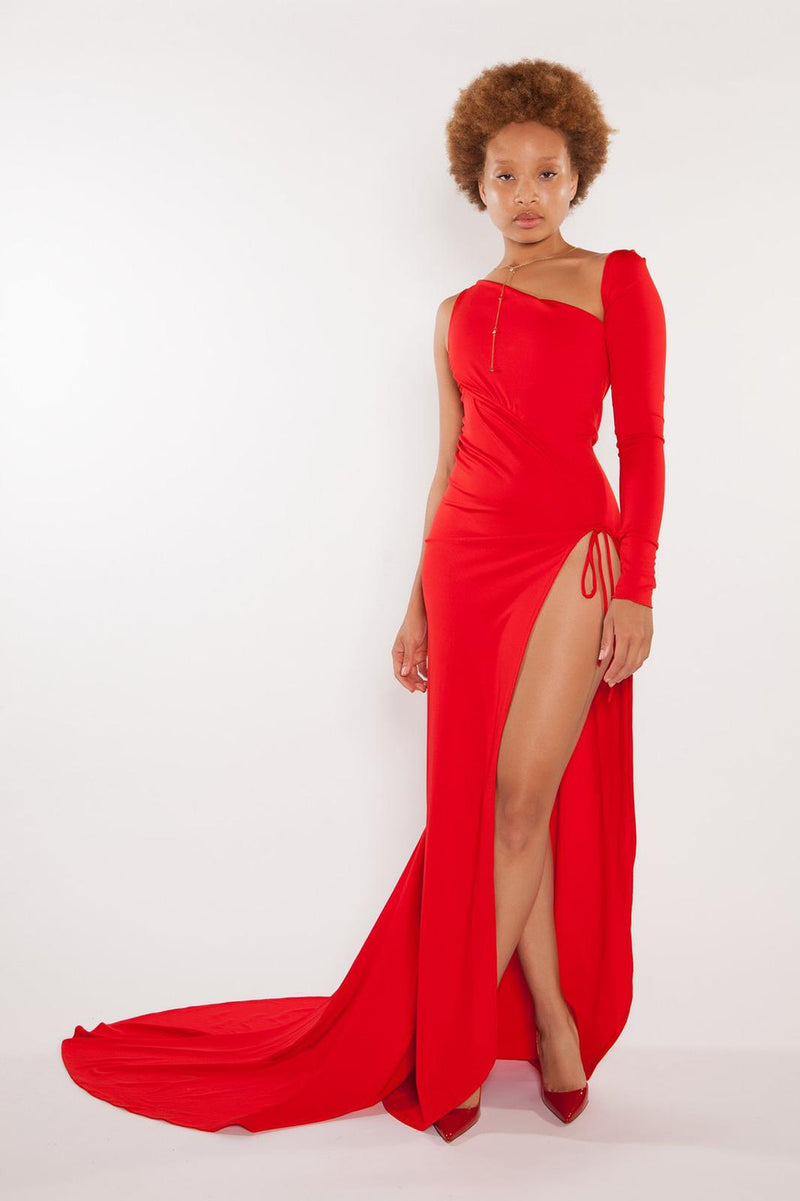 Sai Sankoh Red High Slit Marcella Dress