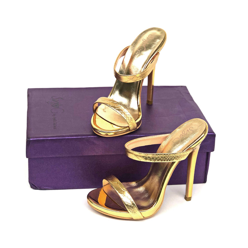 PRE-ORDER SybGCo Gold On a Pedestal Mules Sandals (RUNS SMALL)