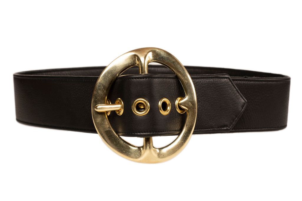 Sergio Hudson Signature Black Leather Belt
