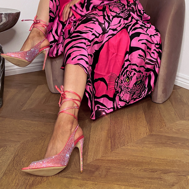 Cult of Coquette Kim Pink Satin Open Toe Ankle Tie Slingbacks
