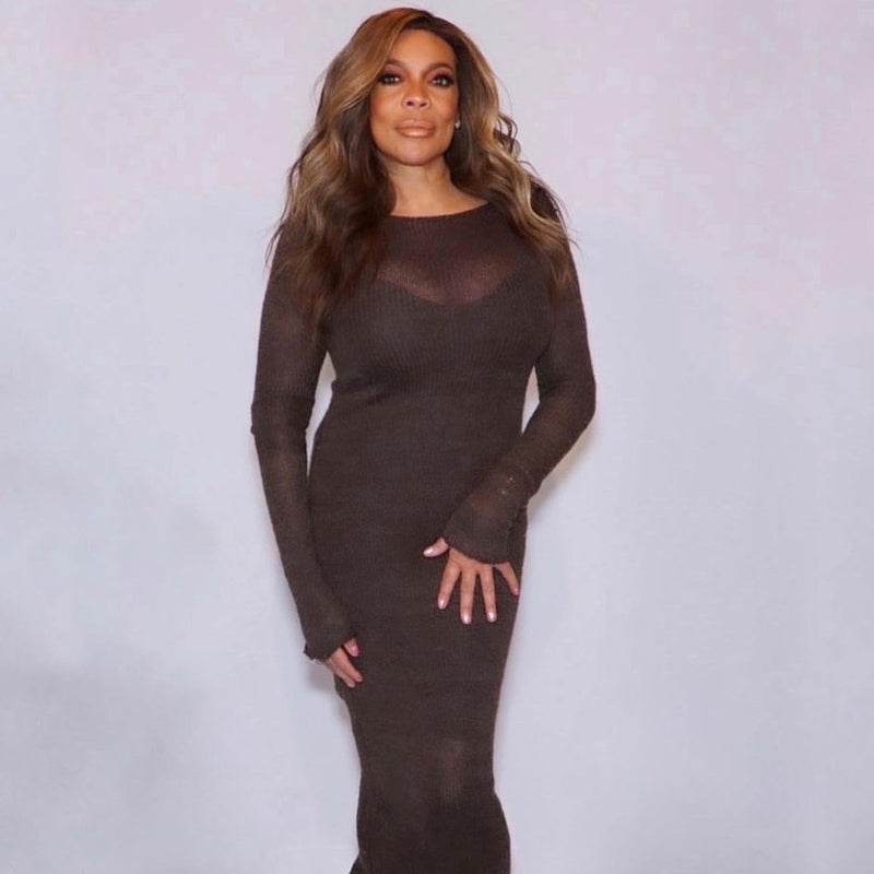 JBD Apparel Chocolate Brown Knit Dress as Worn by Wendy Williams