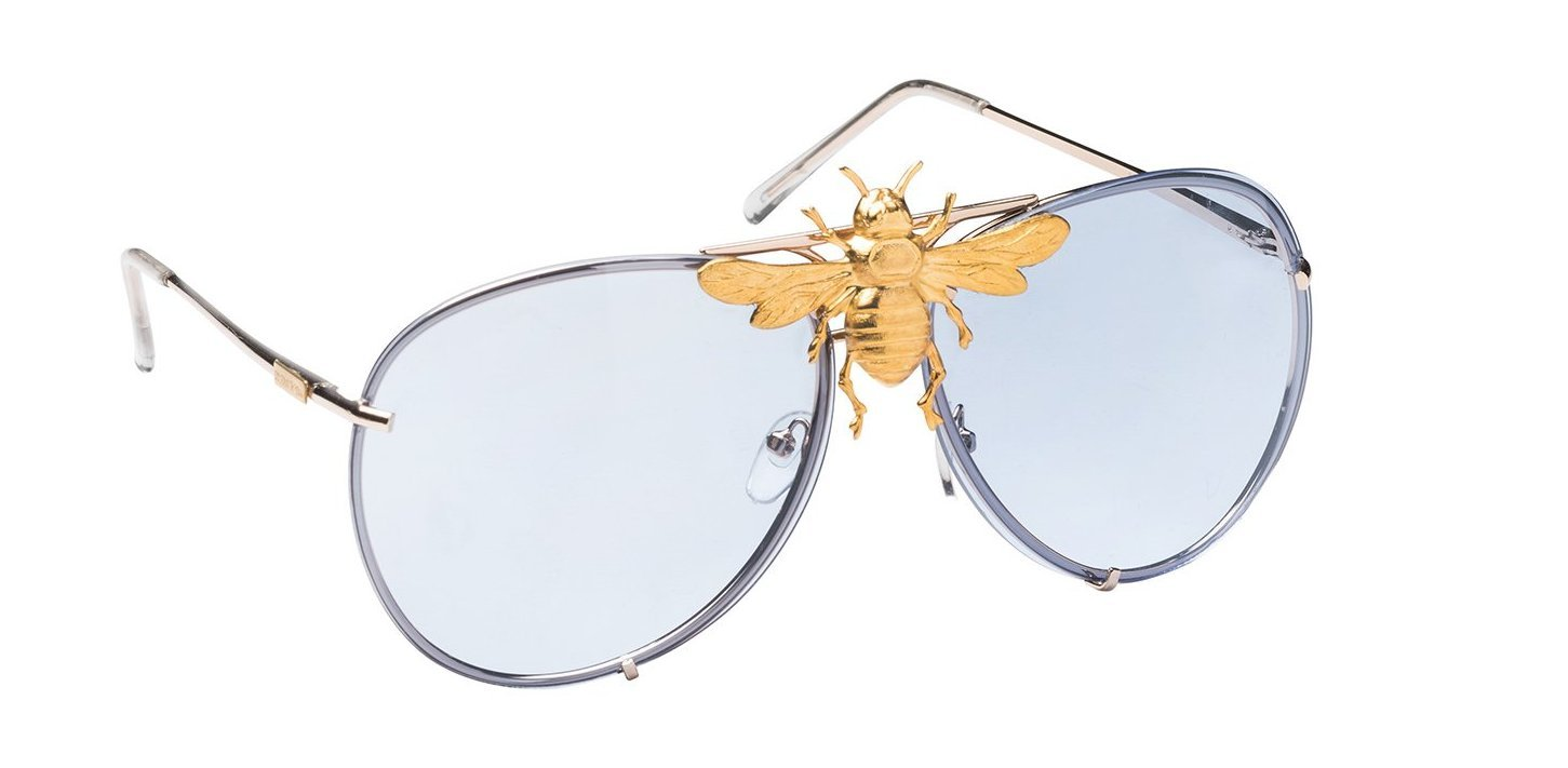 Nroda Gold Bee Oversized Aviators as Worn by Rick Ross and Snoop Dogg