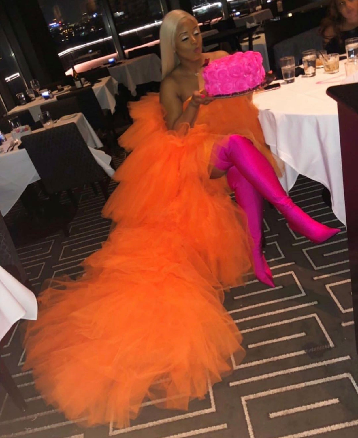 Oyemwen Tiered High Low Tulle Maxi Tutu Dress Orange (Custom Colors Available)
