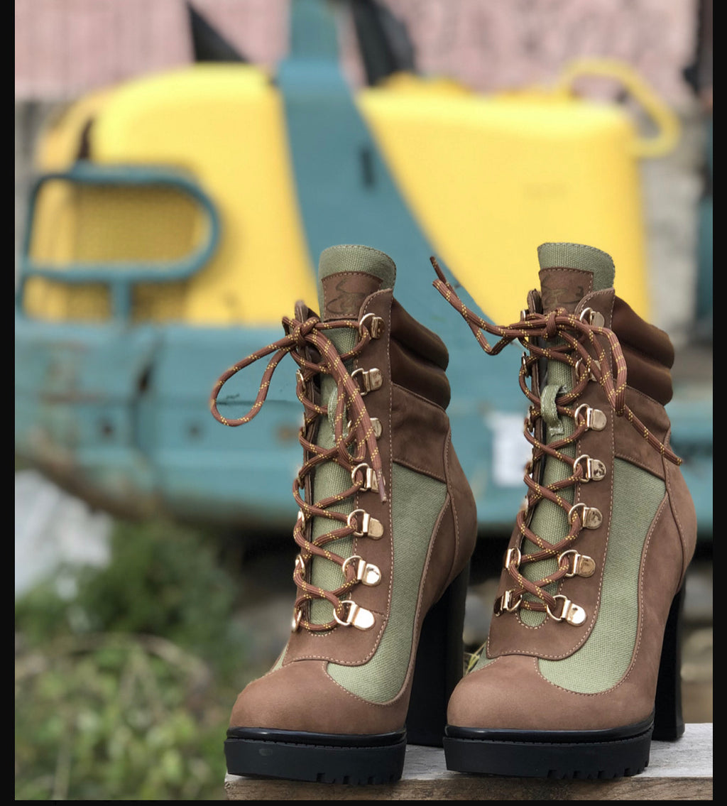 Josephine Valerie Tamiko Olive Green Lace Up Hiking Boots
