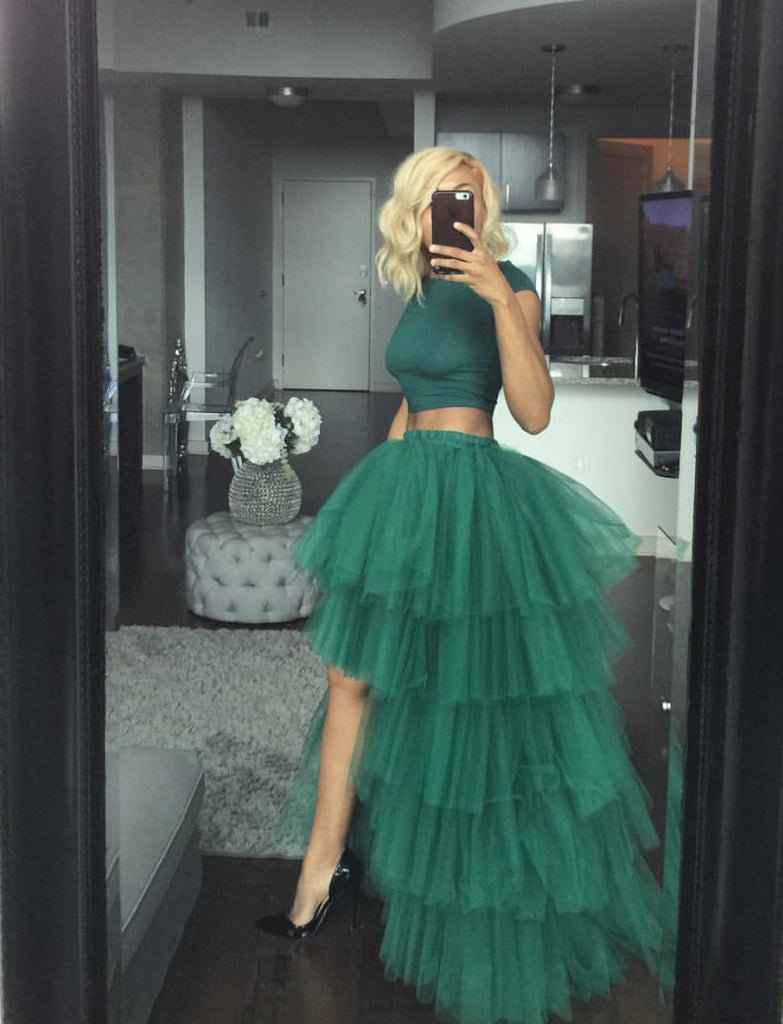 Oyemwen Tiered High Low Tulle Maxi Tutu Skirt in Green