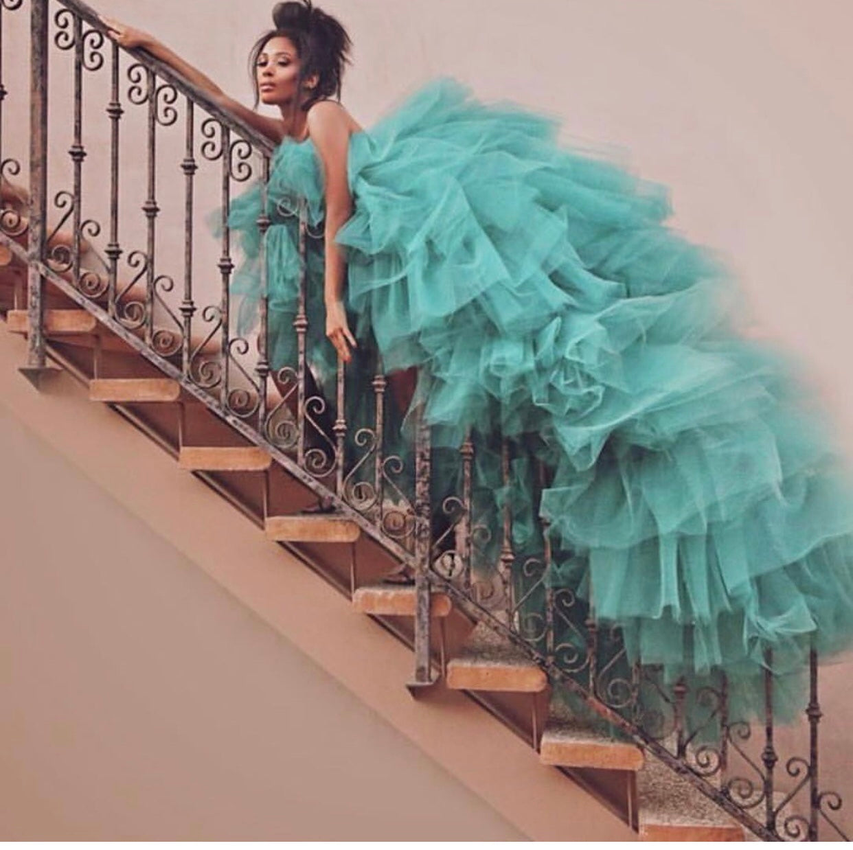 Oyemwen Tiered High Low Tulle Maxi Tutu Dress Mint (Custom Colors Available)