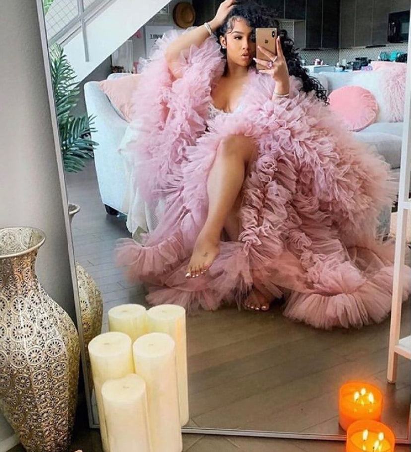 Oyemwen Blush Rose Pink Tulle Robe with Matching Slip