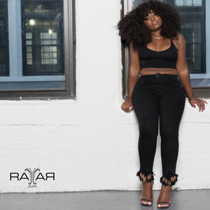 Rayar Fringe Jeans Gold and Black