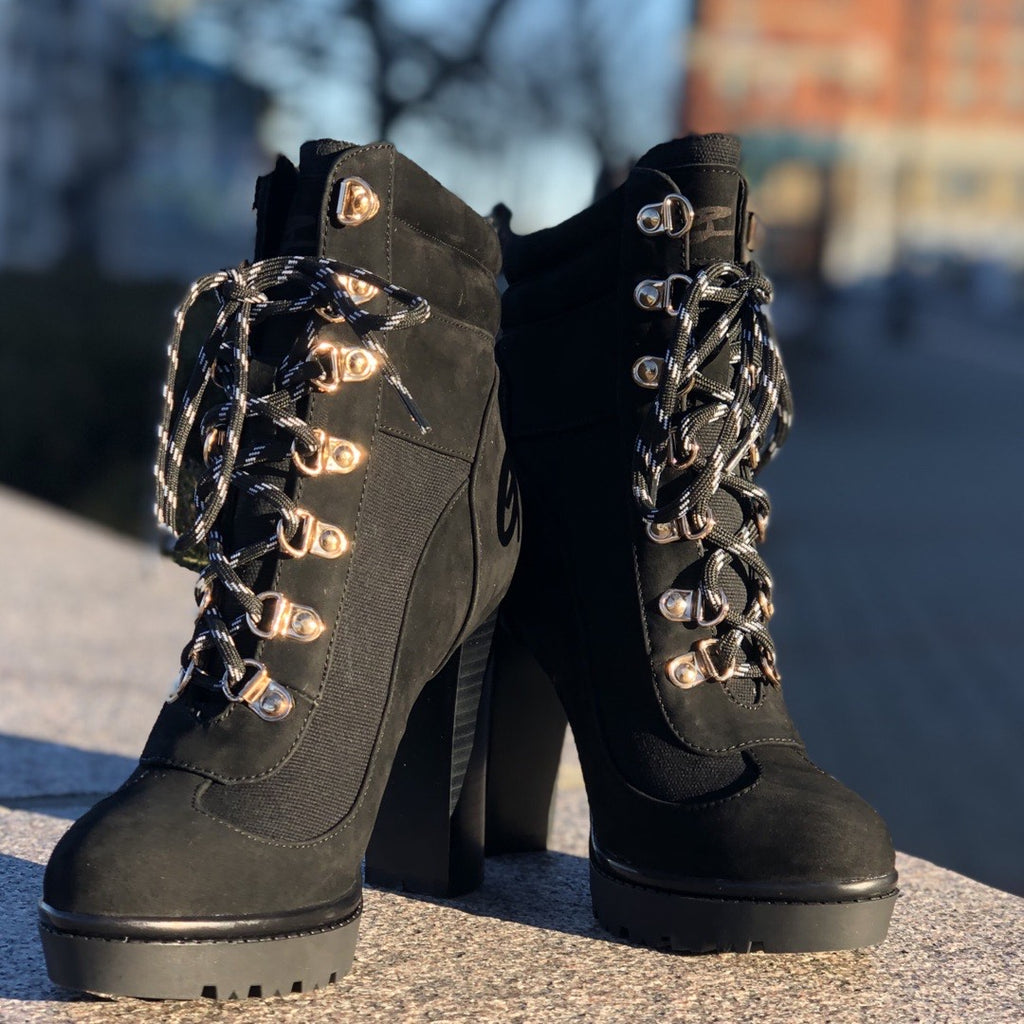 Josephine Valerie Tamiko Black Lace Up Hiking Boots