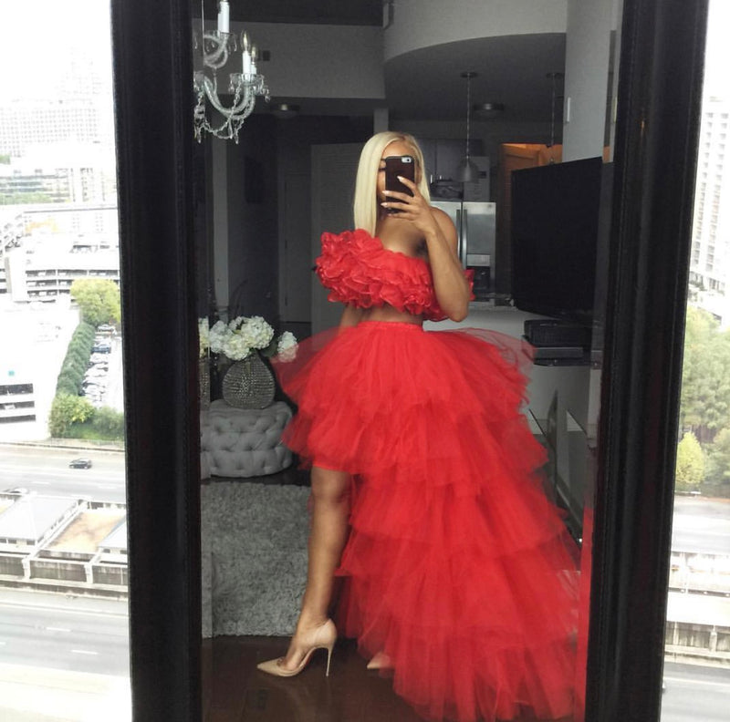 Oyemwen Tiered High Low Tulle Maxi Tutu Orchid Skirt Red