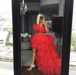 Oyemwen Tiered High Low Tulle Maxi Tutu Orchid Skirt and Top Red (Full Look)