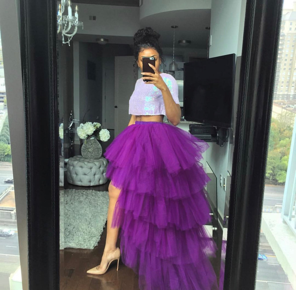 Oyemwen Tiered High Low Tulle Maxi Tutu Orchid Skirt Purple