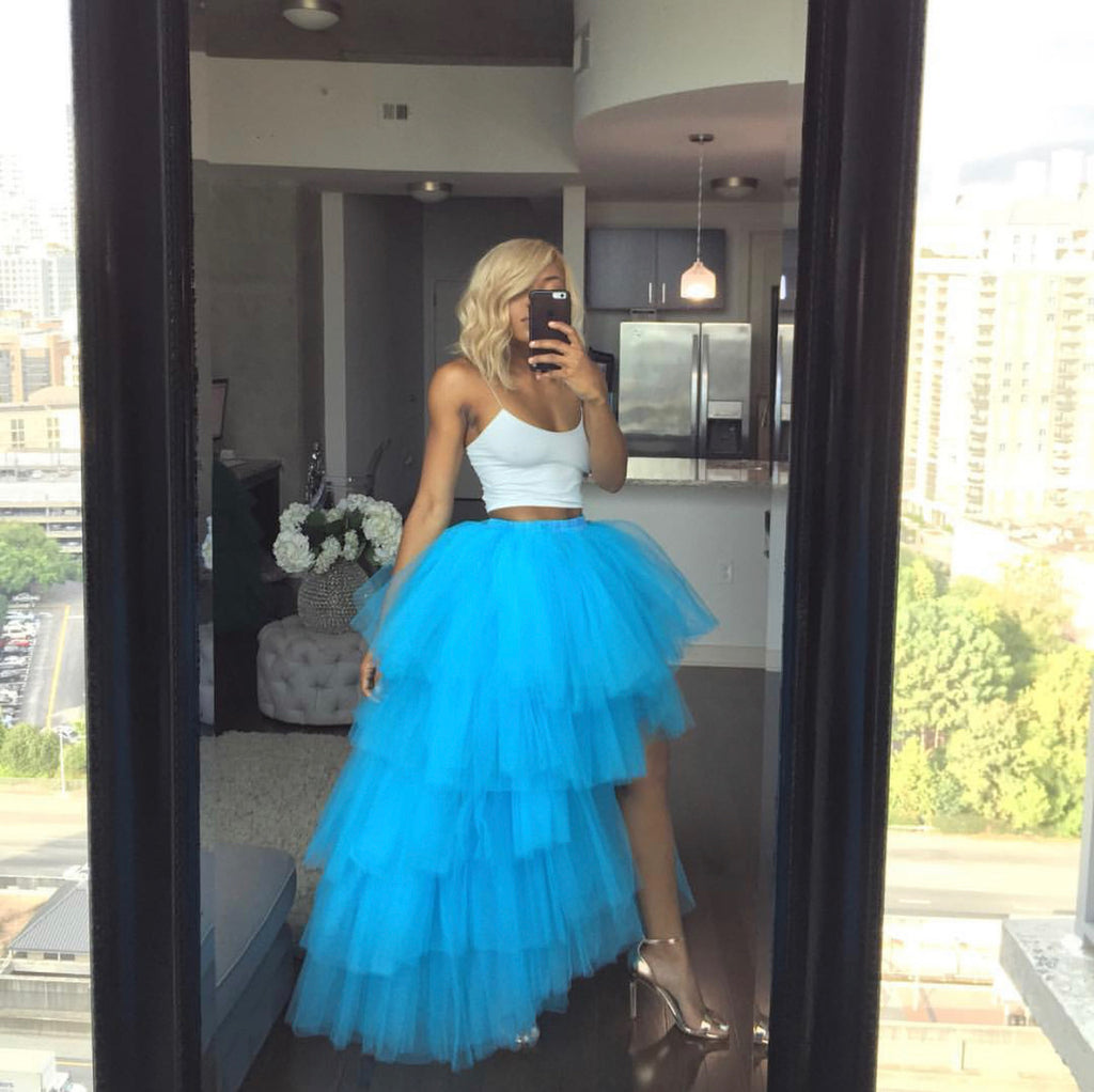 Oyemwen Tiered High Low Tulle Maxi Tutu Skirt Pool Blue