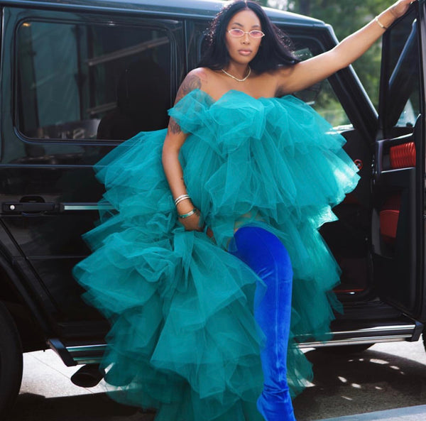 Oyemwen Tiered High Low Tulle Maxi Tutu Dress Green (Custom Colors Available)