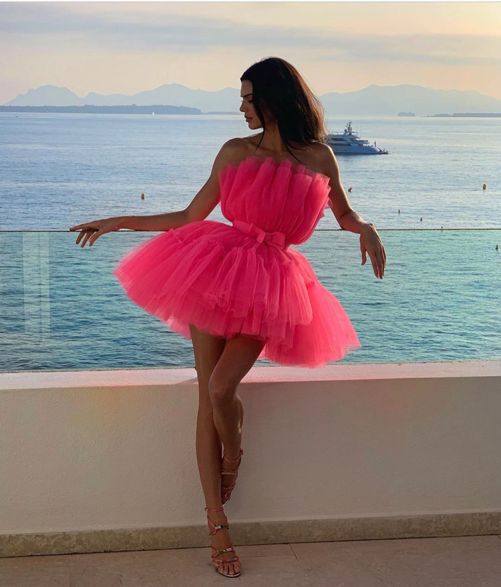 Strapless Flirty Hot Pink Tutu Tulle Dress Similar Style Worn by Kendall Jenner (Custom Colors Available)