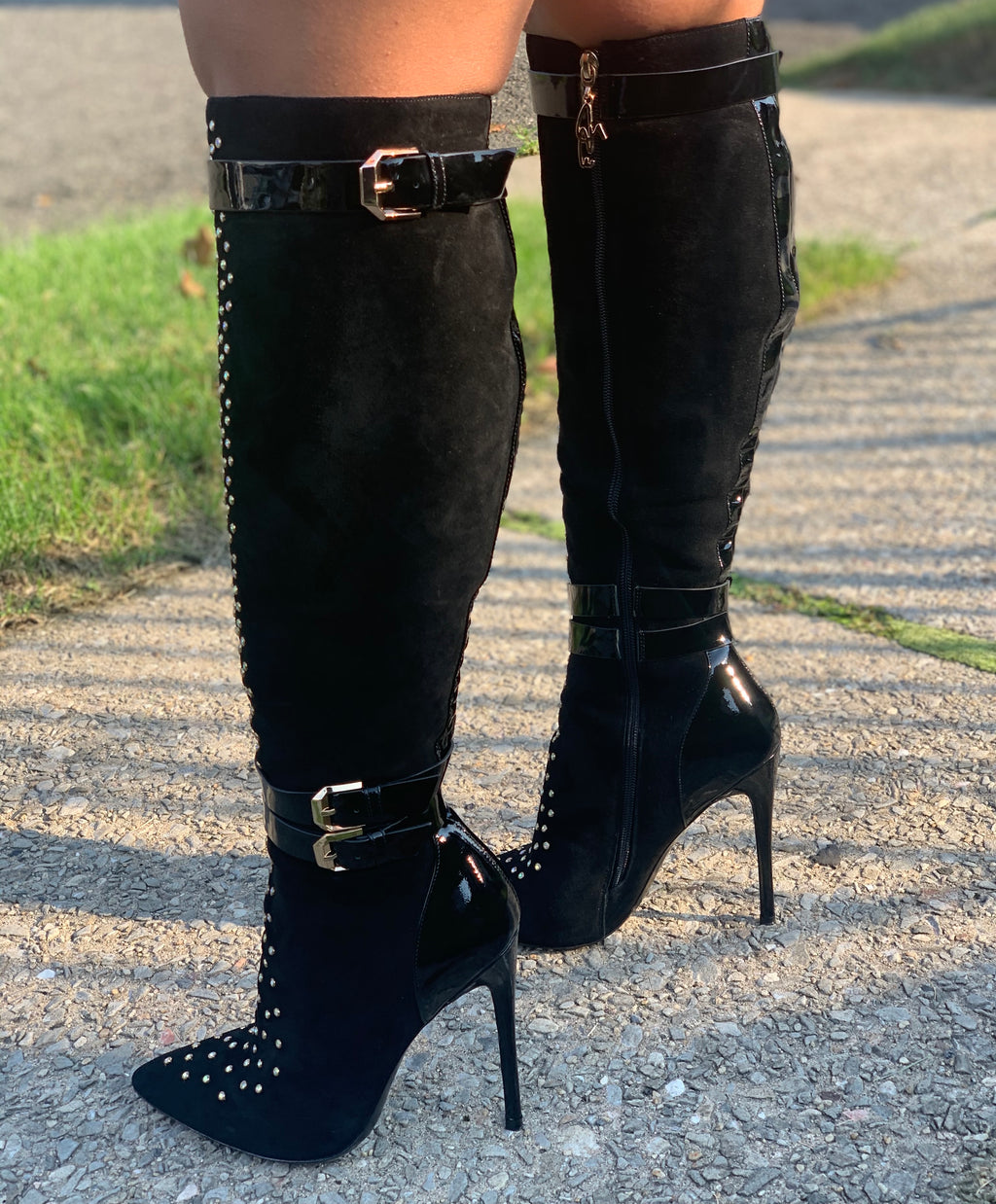 Josephine Valerie Tammi Black Suede Gold Studded Boots