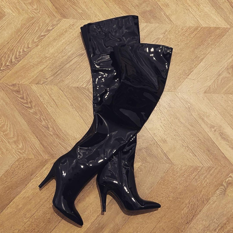 Cult of Coquette Jane Over the Knee Black Patent Boots